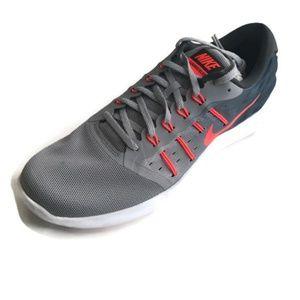 Nike-Mens-LunarStelos-Wolf-Grey-Crimson Size 10